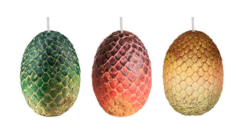 Set de 3 Velas Huevos de Dragones 6 x 9 cm. Juego de Tronos. Insight Collectibles