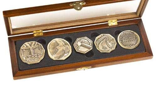 Set de 5 monedas tesoro de los enanos. Escala 1/1. El Hobbit. Noble Collection
