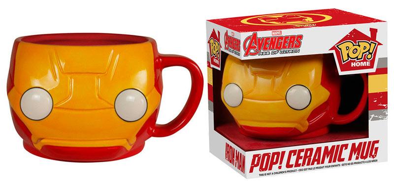 Taza Iron Man. Los Vengadores: la era de Ultrón. Línea POP! Home. Marvel Cómics. Funko