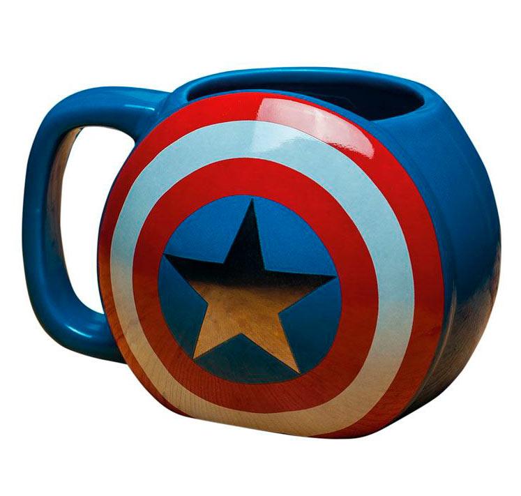 Taza escudo Capitán América. Marvel Cómics