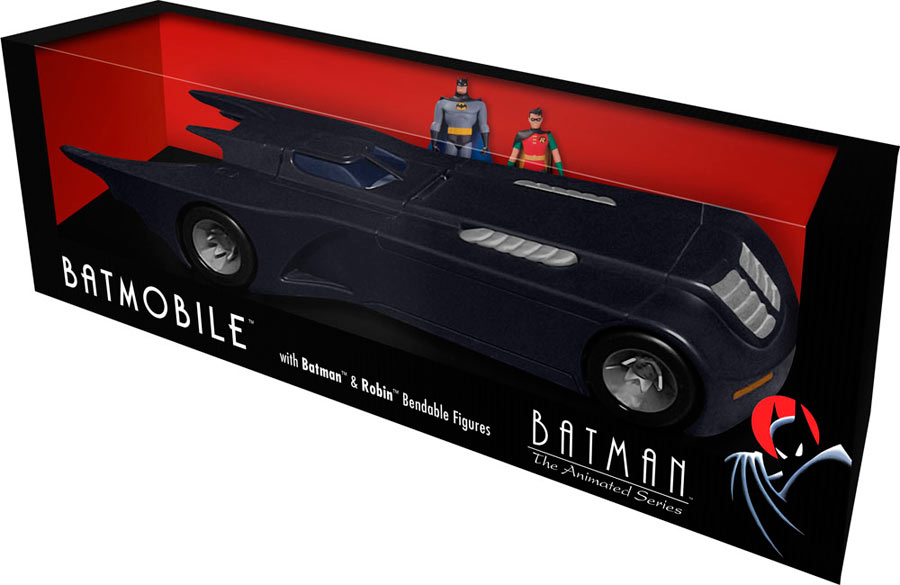 Vehículo Batmobile & figuras maleables Batman y Robin. 1:24. Batman: la serie animada. DC Cómics. NJ Croce
